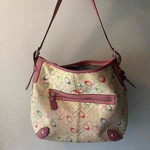 Colorful coach bag with flower keychain summer